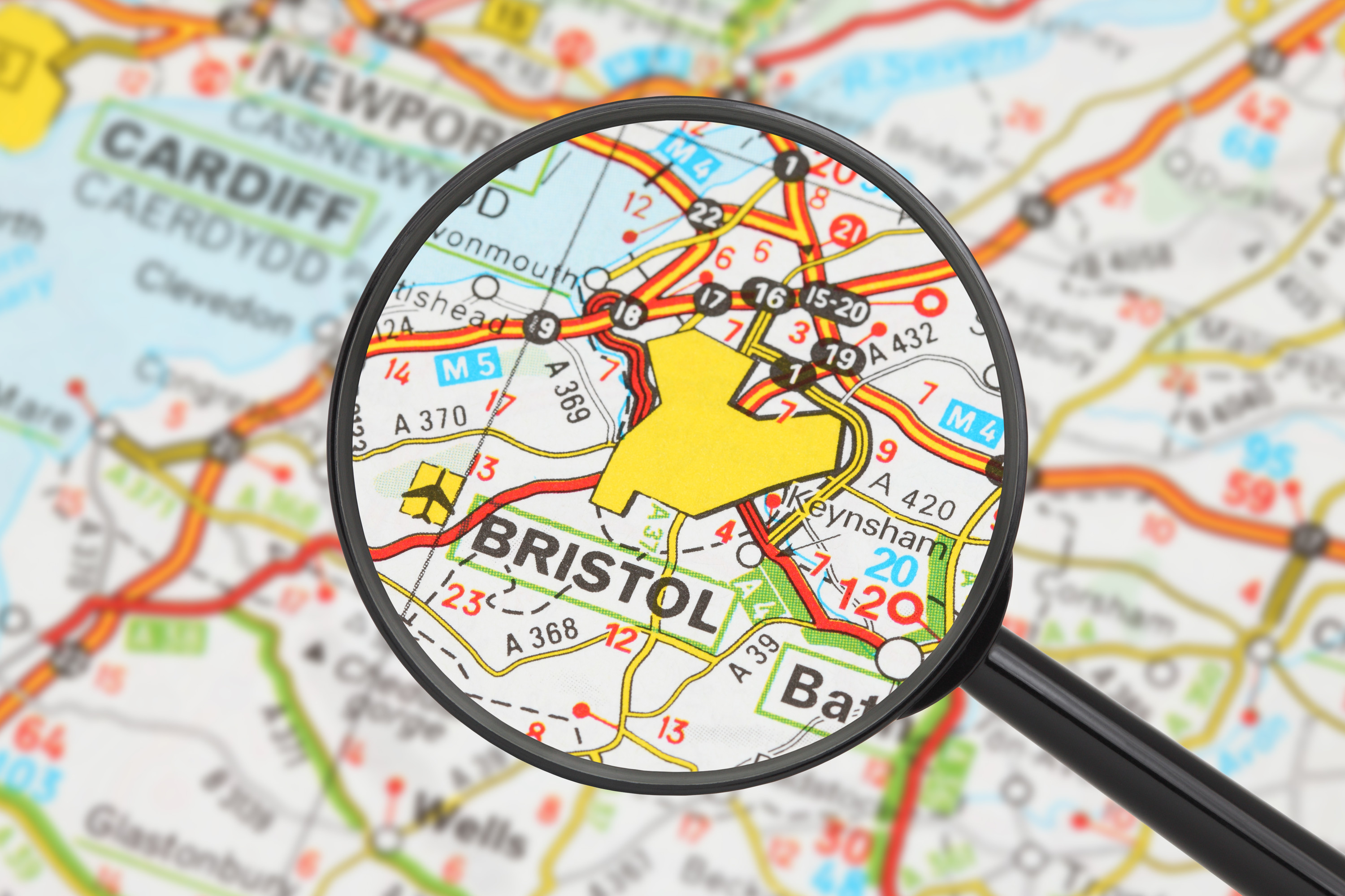 Bristol magnified on a road map