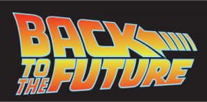 Image shows Back to the Future written in the style of the movie posters